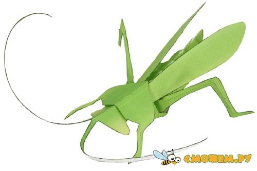 3D Кузнечик из бумаги